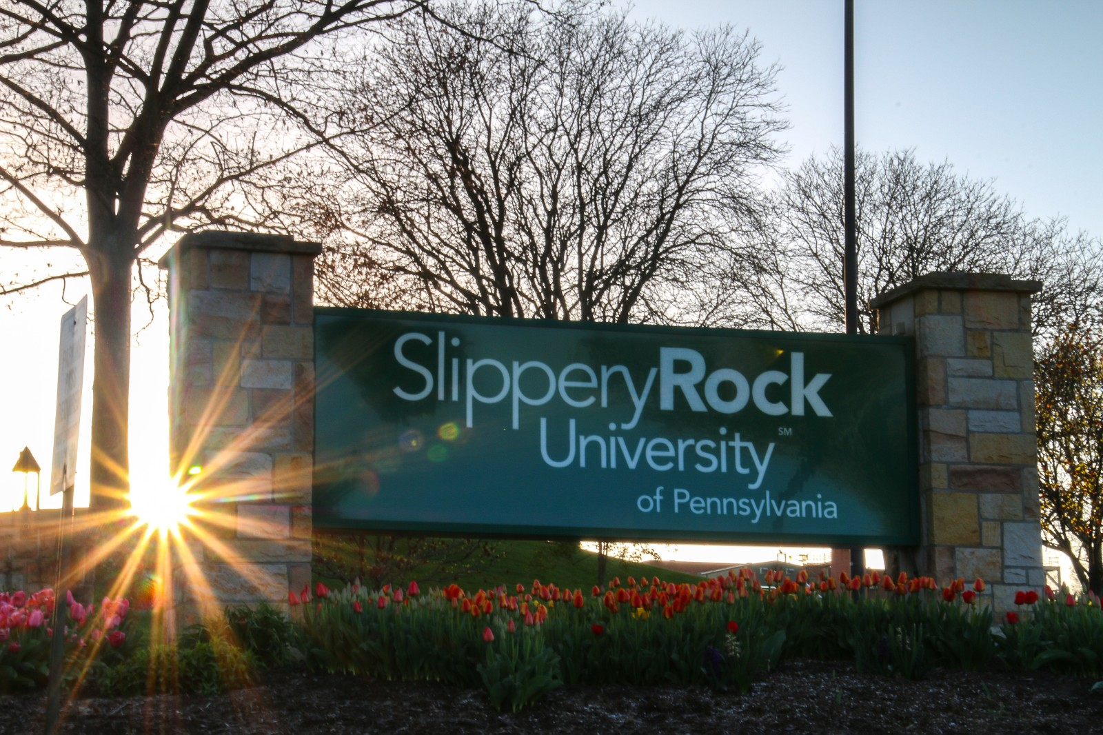 Slippery Rock University sign